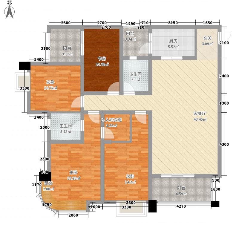 中交・锦湾664156.44㎡T户型4室2厅2卫1厨