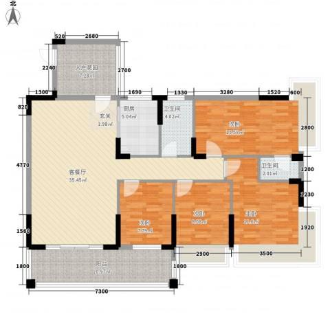 翡翠名苑4室1厅2卫1厨128.00㎡户型图