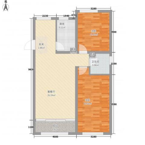 文兴东三里2室1厅1卫1厨78.00㎡户型图