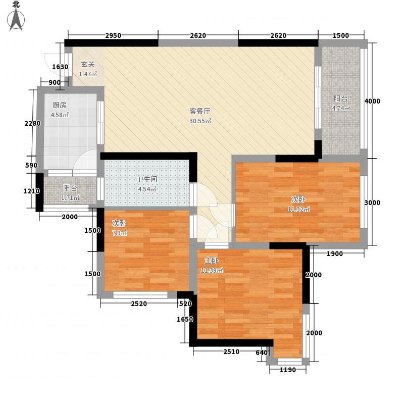 邦泰・国际社区87.00㎡B4户型3室2厅1卫1厨
