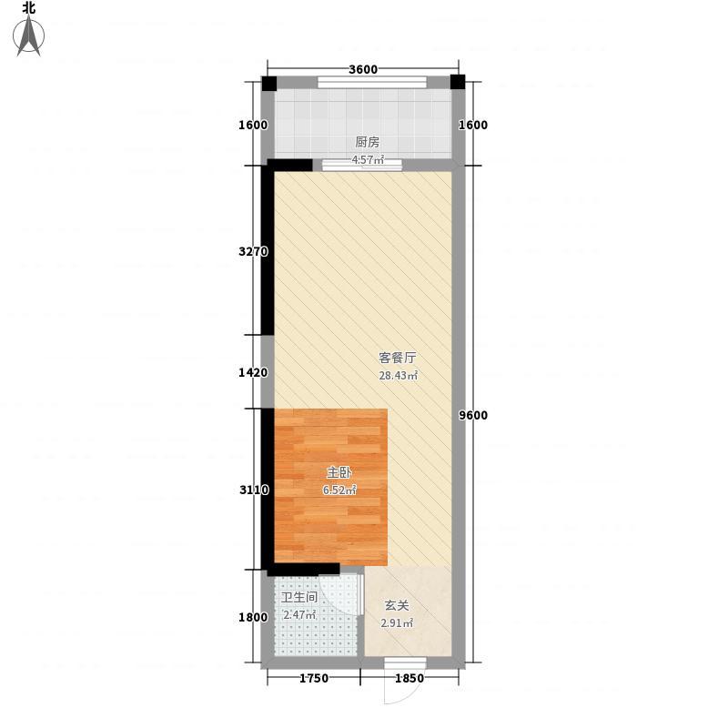 清新商务大厦47.76㎡04单位户型1室1厅1卫1厨