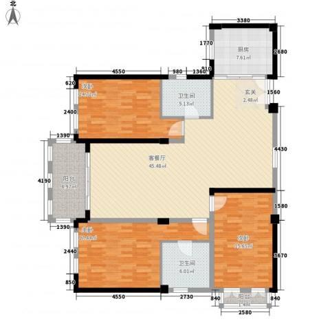 现代家园3室1厅2卫1厨170.00㎡户型图