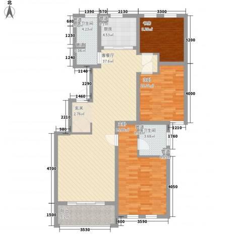 我的家园3室1厅2卫1厨126.00㎡户型图