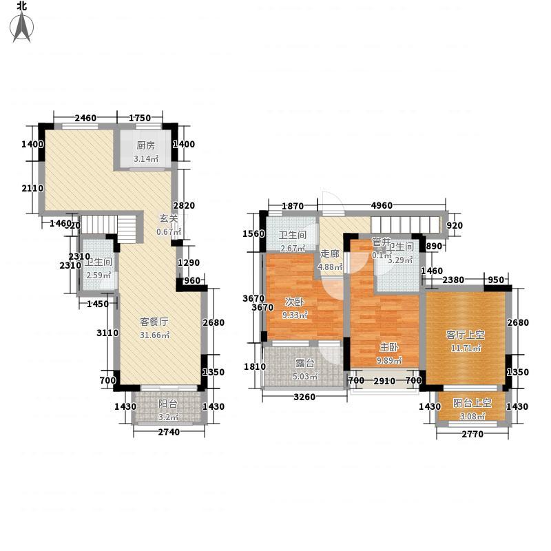 融侨城133.64㎡洋房G7户型2室2厅3卫1厨