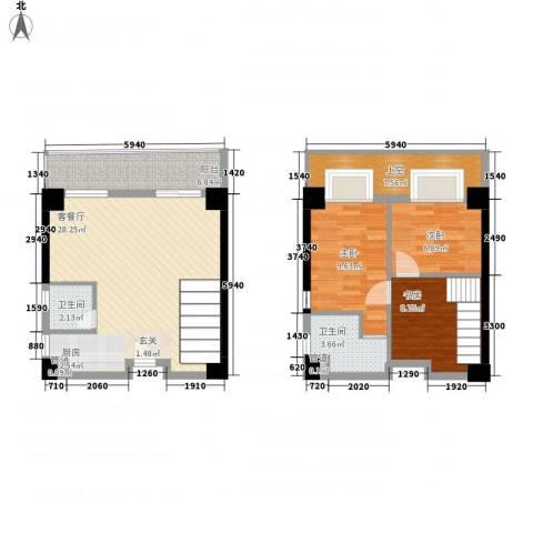 五米阳光二期3室1厅2卫0厨73.92㎡户型图