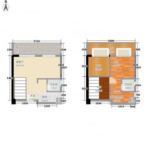 五米阳光二期2室1厅2卫0厨71.38㎡户型图