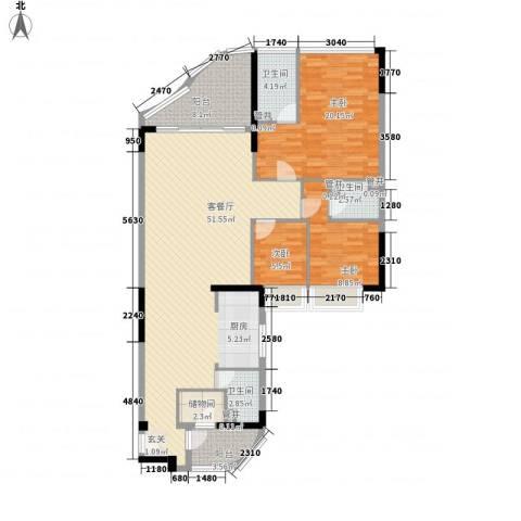 江畔华庭3室1厅3卫0厨155.00㎡户型图