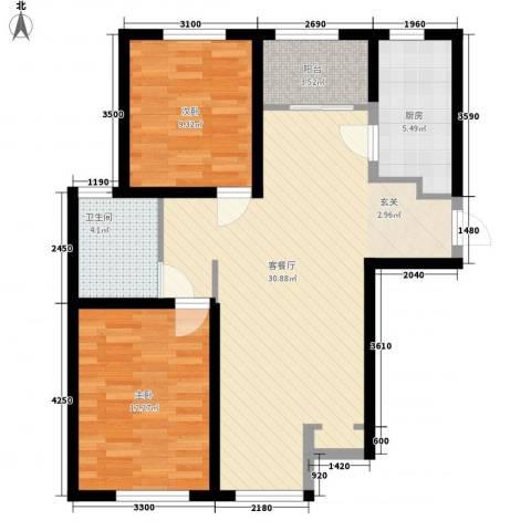 俊嘉花园2室1厅1卫1厨94.00㎡户型图