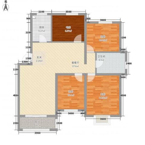 温哥华城・锦绣府邸4室1厅1卫1厨97.92㎡户型图