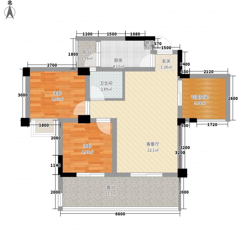 南桥春天76.18㎡B2偶数层户型2室2厅1卫1厨
