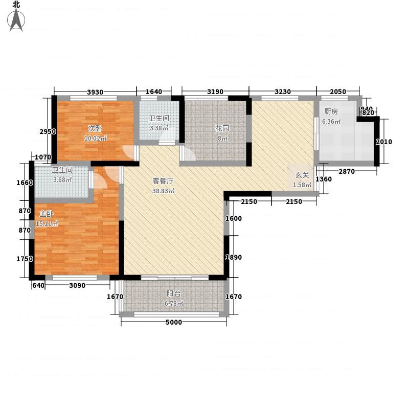 水岸绿洲二期1.20㎡F1户型2室2厅2卫1厨