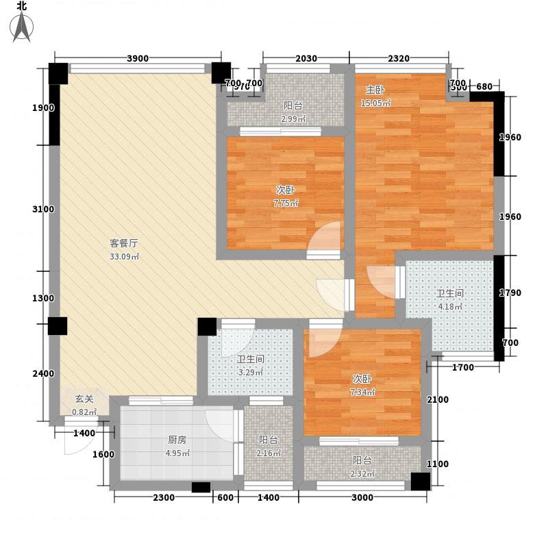三汇人和逸景1.52㎡A1户型3室2厅2卫1厨