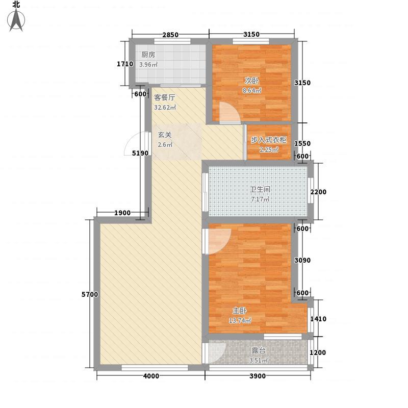 格林逸水苑13.74㎡e户型2室2厅1卫1厨