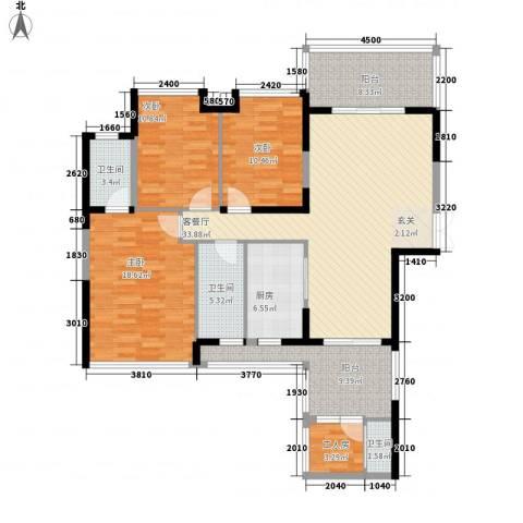 嘉宏世纪豪庭3室1厅3卫1厨111.68㎡户型图