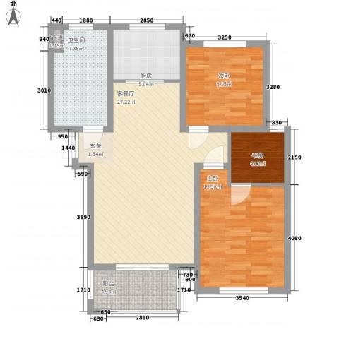 康桥郦湾3室1厅1卫1厨102.00㎡户型图