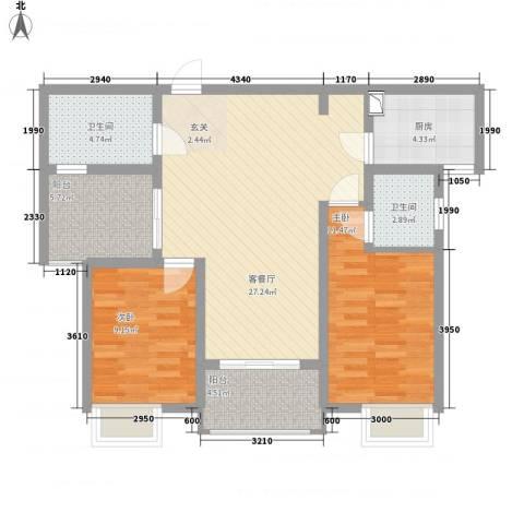 九华学府2室1厅2卫1厨102.00㎡户型图