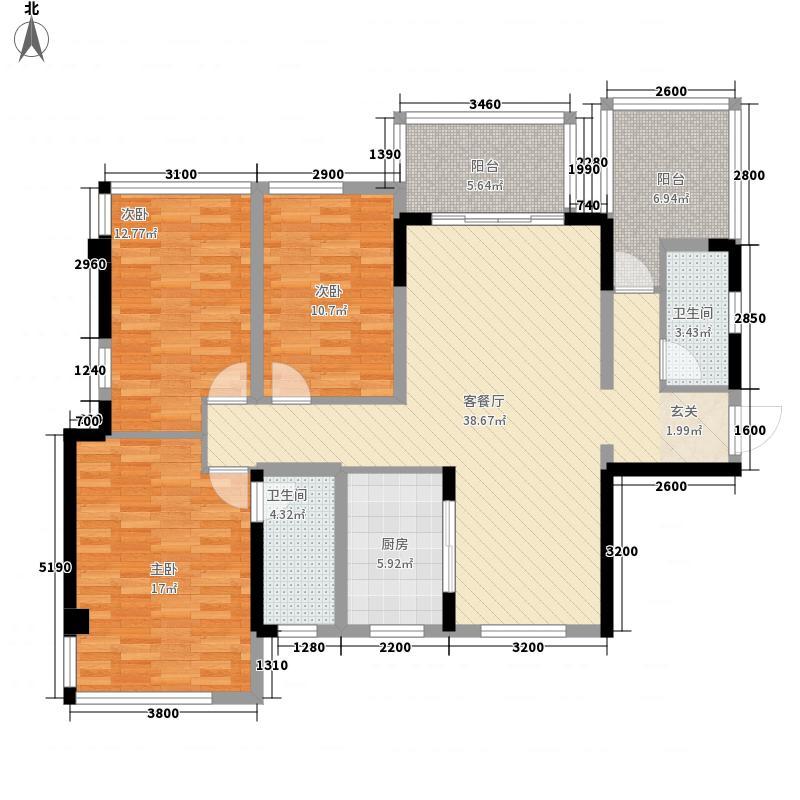 荣和悦澜山3室1厅2卫1厨125.00㎡户型图