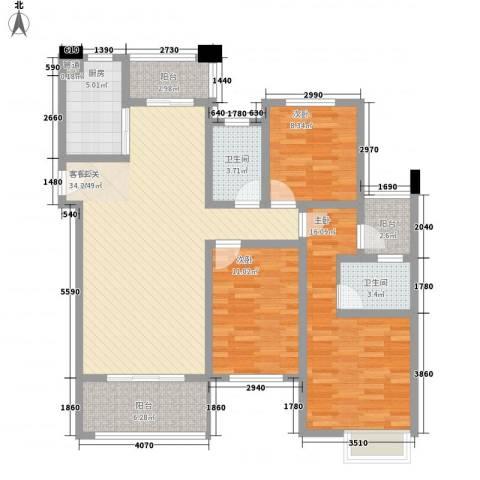 保利香槟国际3室1厅2卫1厨137.00㎡户型图