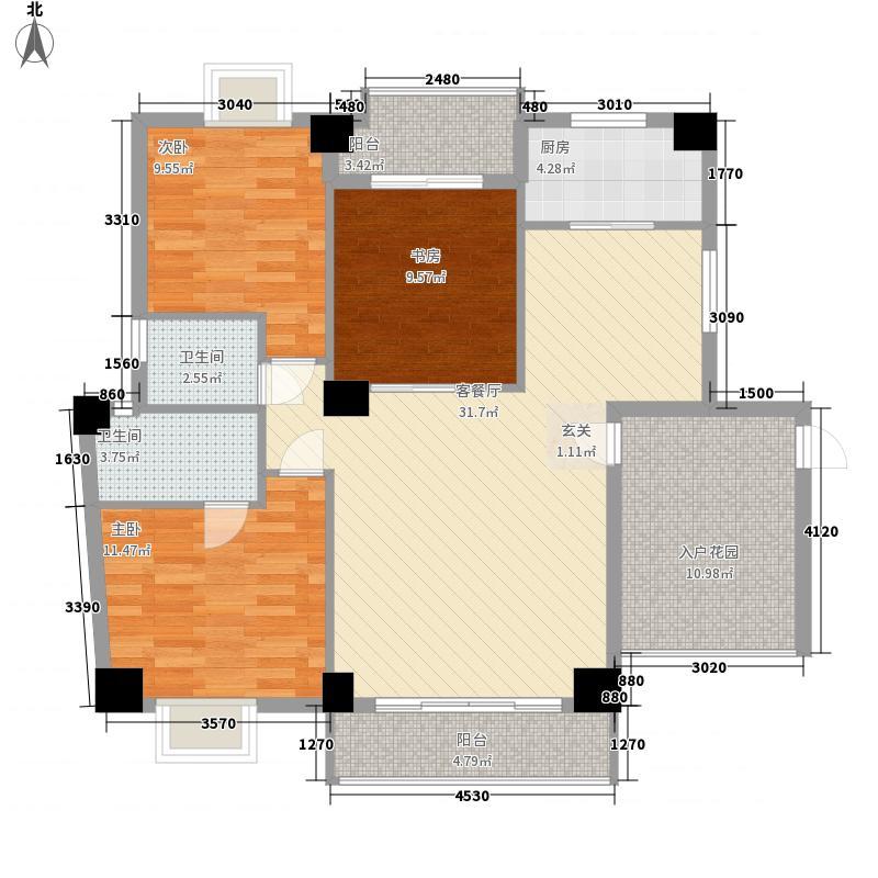 鑫荣嘉园二期悦湖131.51㎡21#5单元户型3室2厅2卫1厨