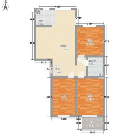 翡翠庄园3室1厅1卫0厨112.00㎡户型图