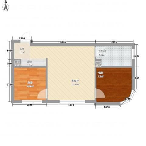 达人社馆2室1厅1卫0厨58.00㎡户型图