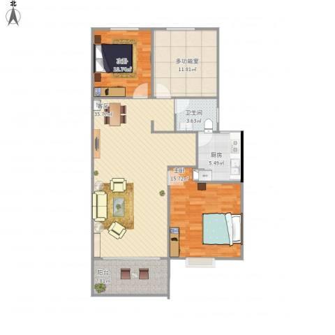 金鼎安邦2室1厅1卫1厨121.00㎡户型图