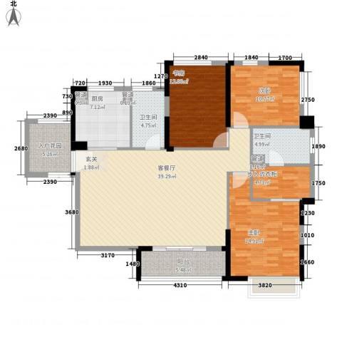 江浦北里3室1厅2卫1厨155.00㎡户型图