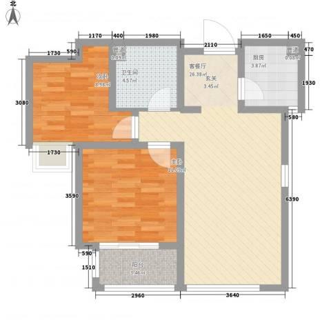 蓝鼎・万国农贸2室1厅1卫1厨85.00㎡户型图