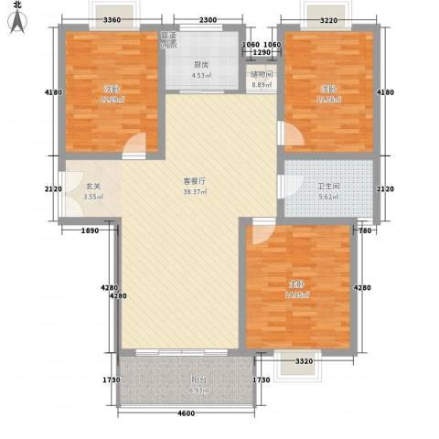 我家山水惠风苑3室1厅1卫1厨134.00㎡户型图