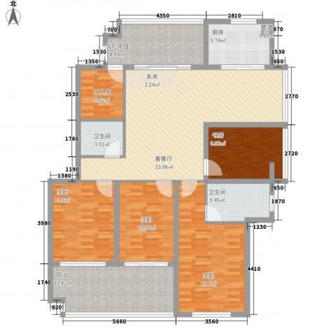 江畔芳庭4室1厅2卫1厨122.40㎡户型图