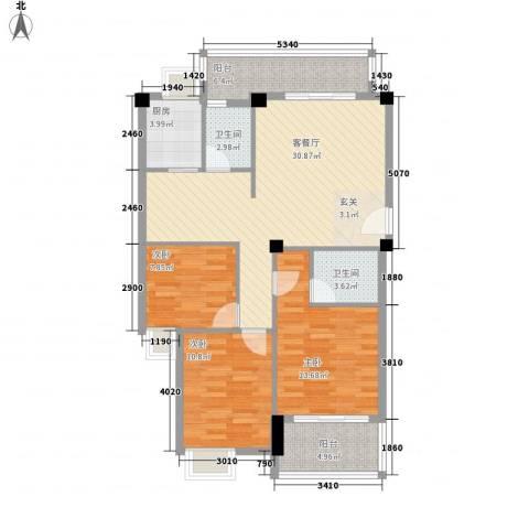 江畔芳庭3室1厅2卫1厨117.00㎡户型图