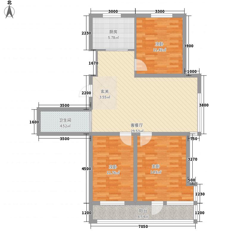 格林逸水苑113.86㎡f户型3室2厅1卫1厨