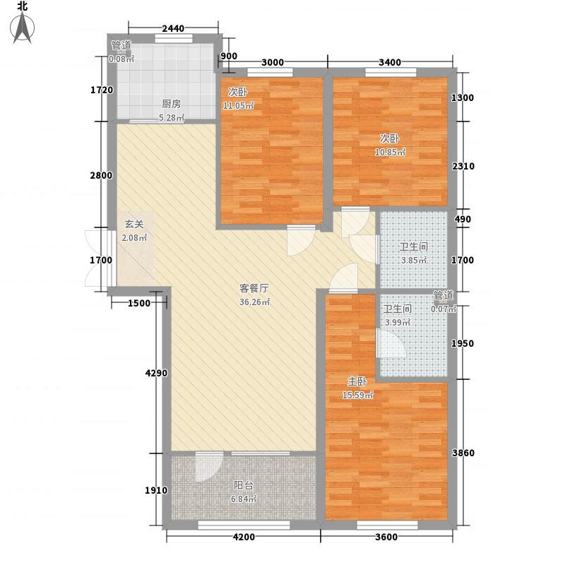 龙兴・中央华府B2户型3室2厅2卫1厨