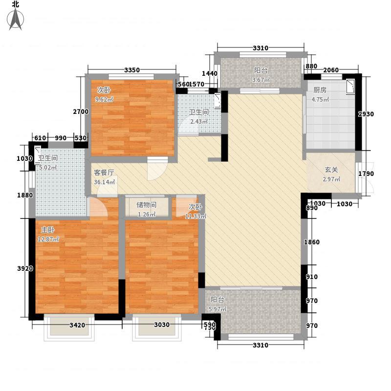 骏景溪悦苑134.00㎡a户型3室2厅2卫1厨