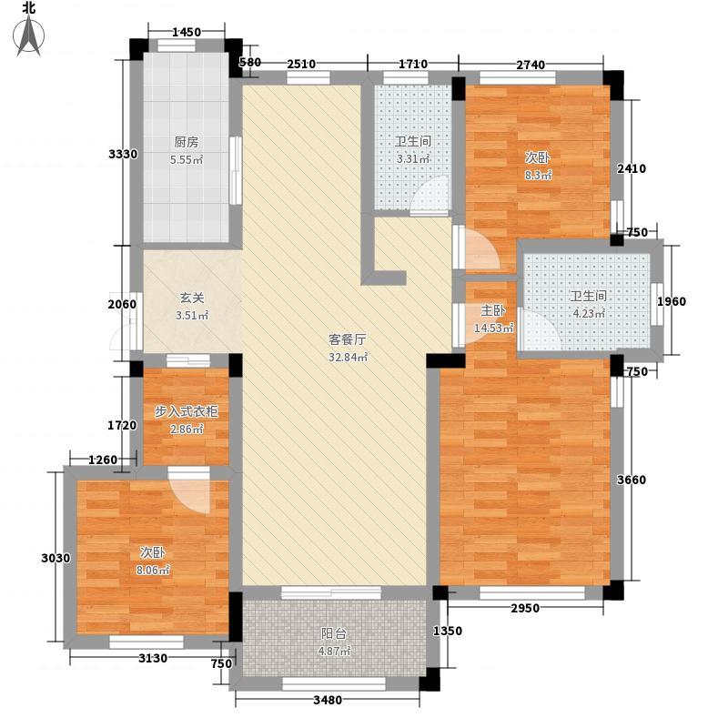 绿城玉兰花园122.00㎡10、11号楼C1户型3室2厅2卫1厨