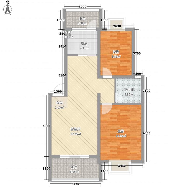 华瑞园74.27㎡D户型2室2厅1卫1厨
