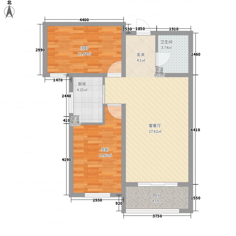 金蔚华府13、15、16-G2-01户型2室2厅1卫1厨