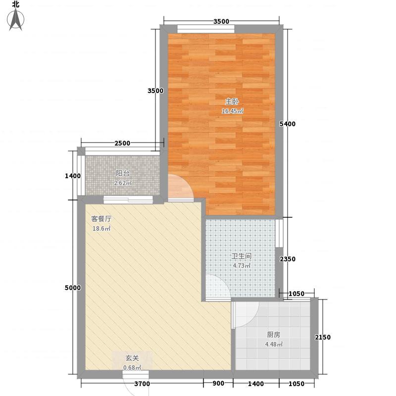 中信・太平观止5.80㎡B户型1室2厅1卫1厨