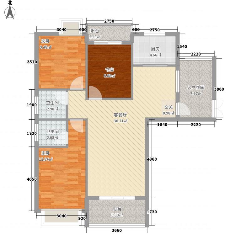 水岸春天123.00㎡D户型3室2厅2卫1厨