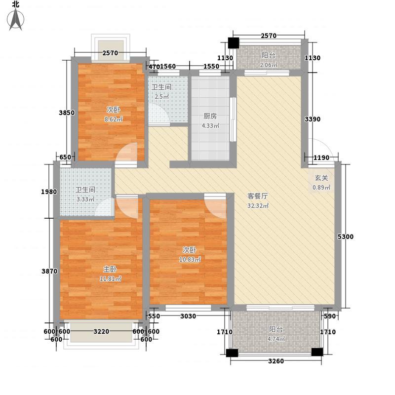 水岸春天116.30㎡G户型3室2厅2卫1厨