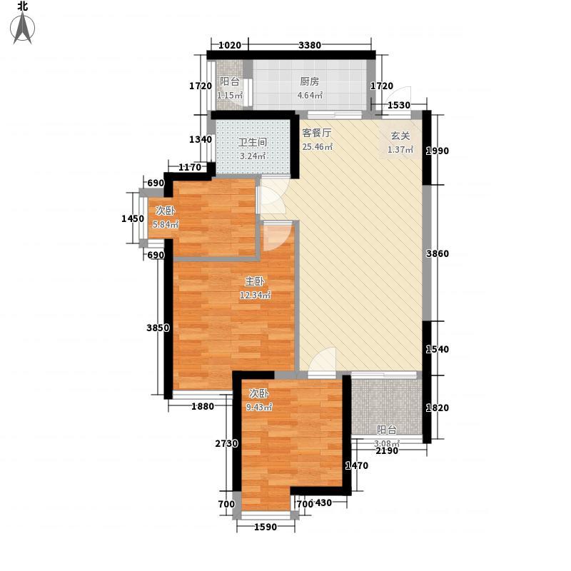 新北环财富广场3.57㎡一期A-2户型3室2厅1卫1厨