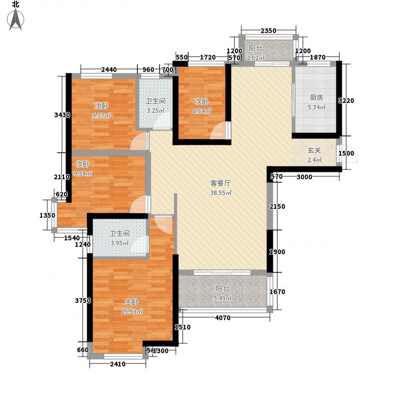 新北环财富广场143.25㎡一期D-1户型4室2厅2卫1厨