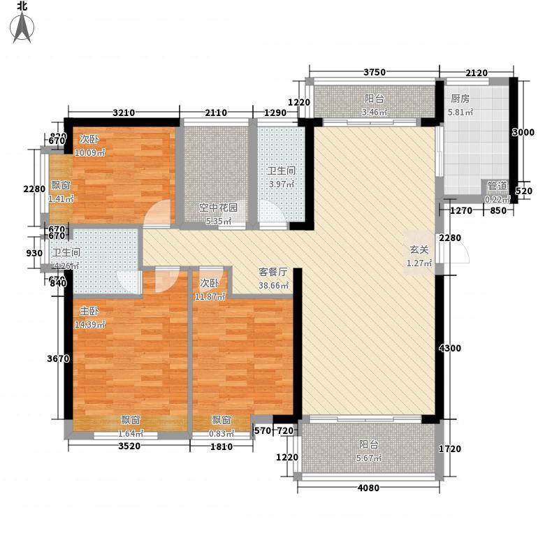 盛世汇景2133.72㎡2#楼标准层03号房户型3室2厅2卫1厨