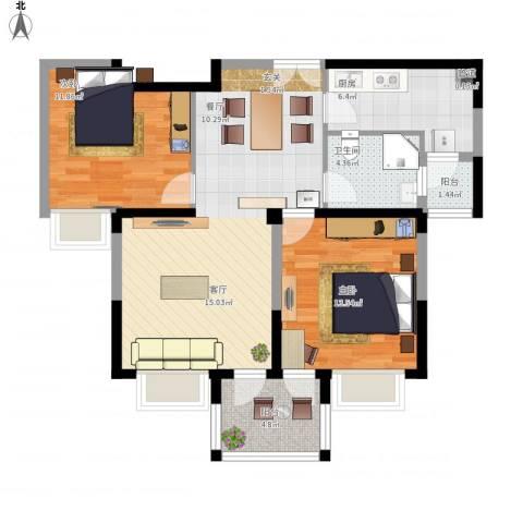 美之苑2室1厅1卫1厨99.00㎡户型图