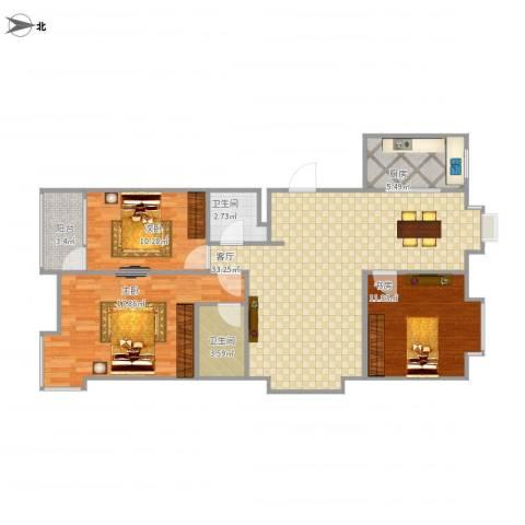 阳光逸墅3室1厅2卫1厨119.00㎡户型图