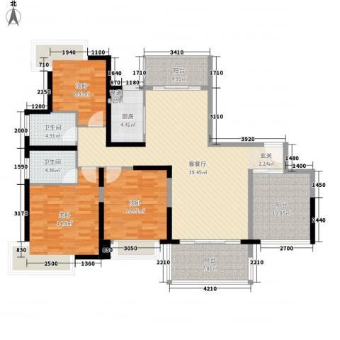 景湖时代城3室1厅2卫1厨147.00㎡户型图
