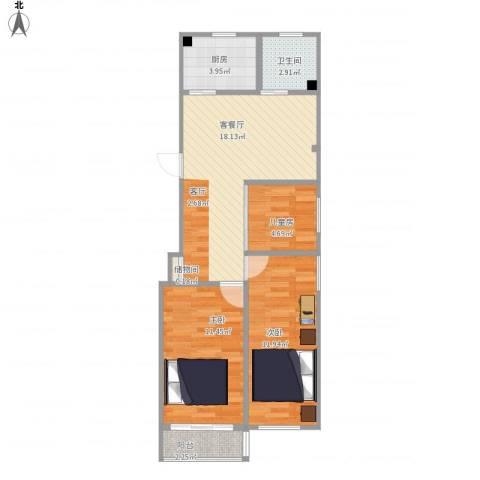 祁连三村3室1厅1卫1厨77.00㎡户型图