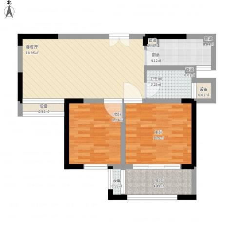 宝信润山2室1厅1卫1厨78.00㎡户型图
