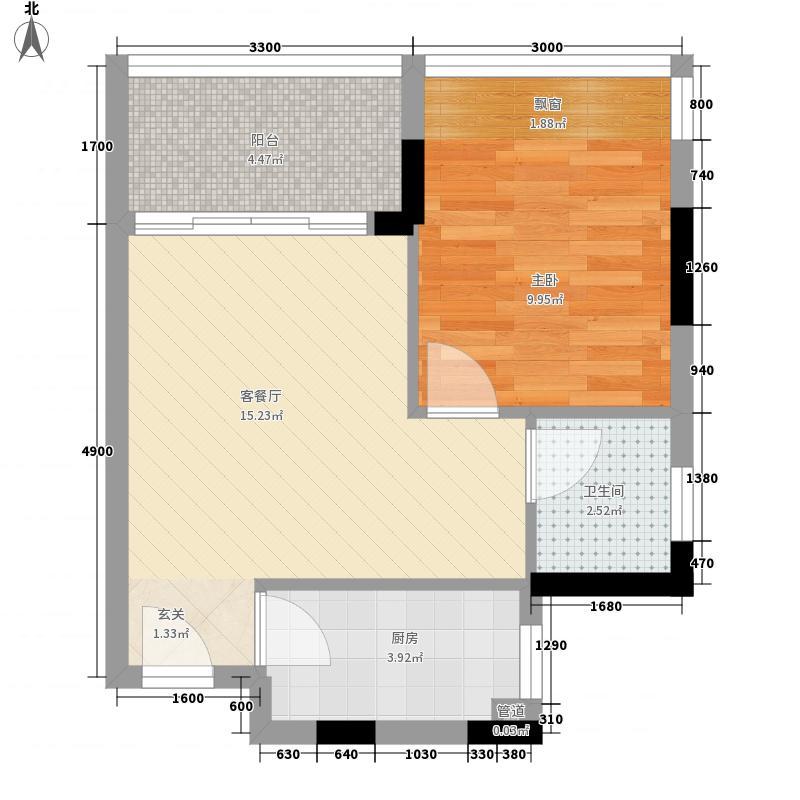 峰景左岸45.37㎡C单元04、D单元05户型1室1厅1卫