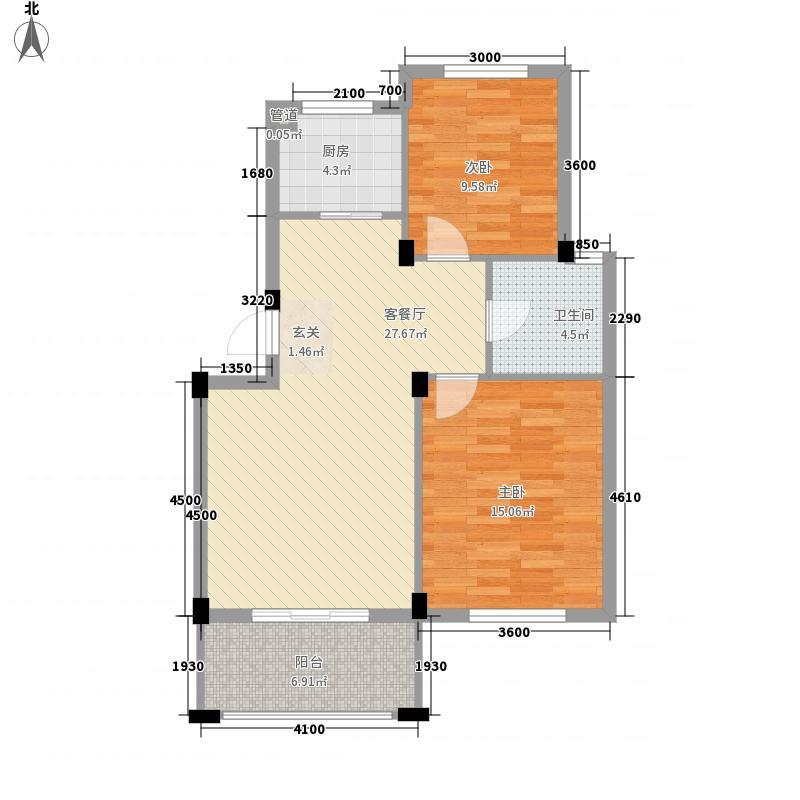 时间公园燕园81.00㎡户型2室2厅1卫1厨
